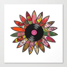 Retro Vinyl Flower Canvas Print