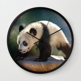 Cute panda bear baby Wall Clock