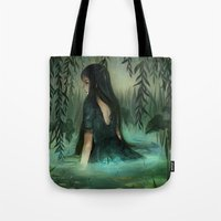 siren Tote Bags featuring Siren by Olivia Chin Mueller