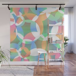 Abstract soap made of cosmic transparent blue circles and green bubbles on a light background. Wall Mural