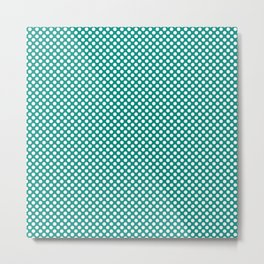 Dynasty Green and White Polka Dots Metal Print
