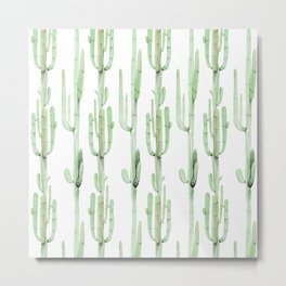 Arizona Wilderness Cactus Green Pattern Metal Print