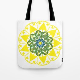 Yellow Green and Blue Mandala Flower Tote Bag
