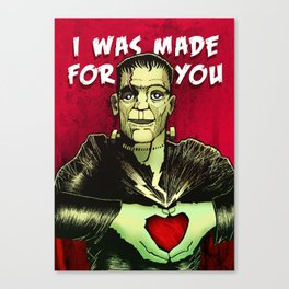 Monster Love Valentine's - I Was Made For You Canvas Print