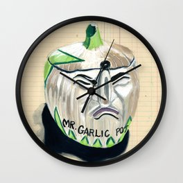 Mr. Garlic Pot in Gouache Wall Clock