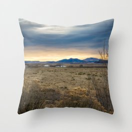 Forever West - Warm Light on a Cold Winter Morning in New Mexico Throw Pillow