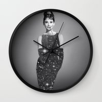 audrey hepburn Wall Clocks featuring Audrey Hepburn by Laure.B