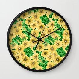 Yellow watercolor petunia flower pattern Wall Clock