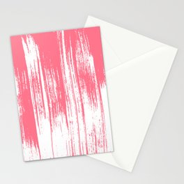 Modern coral white watercolor brushstrokes pattern Stationery Cards