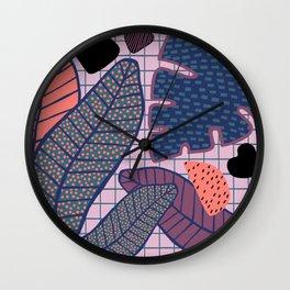 Palm & Monstera Leaves Wall Clock