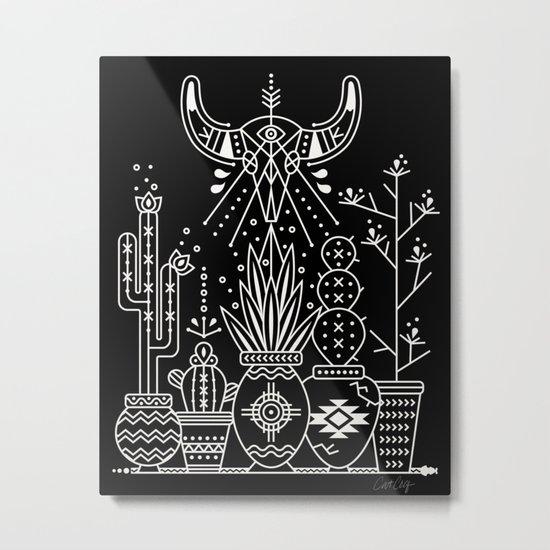 Santa Fe Garden – White Ink on Black Metal Print