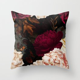 Vintage & Shabby Chic - Midnight Rose and Peony Garden Throw Pillow