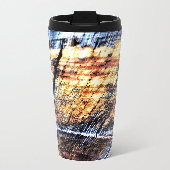 Macro Tree Stump Rings Metal Travel Mug