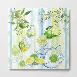 Tropical Lime Splash Metal Print