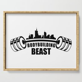 bodybuilding beast of the city Serving Tray