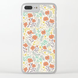 Colorful Peonies Clear iPhone Case