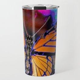 ORANGE MONARCH BUTTERFLY & SOAP BUBBLE IN BLUE OPTICAL ART Travel Mug