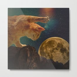 Cat hunting the moon Metal Print