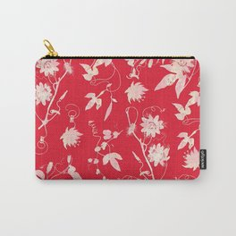 Red Passiflora Floral Pattern Carry-All Pouch