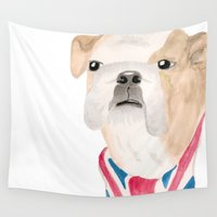 union jack Wall Tapestries featuring British Bulldog Union Jack Painting by Sunday Rest Studio