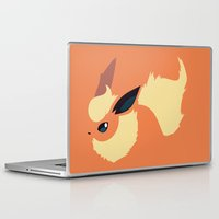 sylveon Laptop & iPad Skins featuring Flareon by Rebekhaart