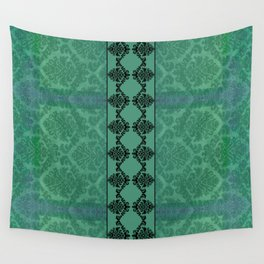 AGED PARCHMENT DAMASK, CUT VELVET in TEAL Wall Tapestry