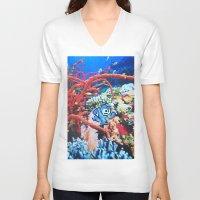 megaman V-neck T-shirts featuring Megaman by John Turck