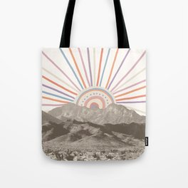 Bohemian Tribal Sun / Abstract Vintage Mountain Happy Summer Vibes Retro Colorful Pastel Sky Artwork Tote Bag
