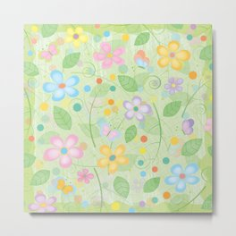 Floral and Butterfly Pattern - Spring Blossom Metal Print