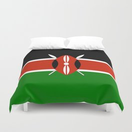 National flag of Kenya - Authentic version, to scale and color Duvet Cover