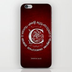 Joshua 24:15 - (Silver on Red) Monogram C iPhone & iPod Skin