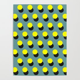 Yellow dots pattern on blue background Poster