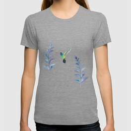 Hummingbird with tropical leaves watercolor design T-shirt