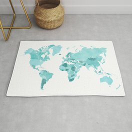 Distressed world map in aquamarine and teal Rug