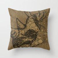 rhino Throw Pillows featuring Rhino by Julia Kisselmann