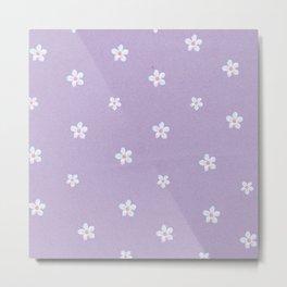 Modern lavender teal pink hand painted floral Metal Print