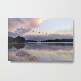 Uplifting II: Geese Rise at Dawn on Lake George Metal Print