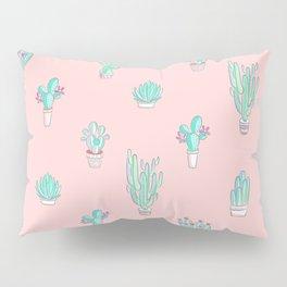 Little succulent pattern on pastel pink Pillow Sham
