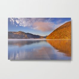 Lake Chuzenji, Japan at sunrise in autumn Metal Print
