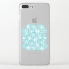 blue winter background with white snowflakes Clear iPhone Case