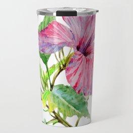 Tropical Pink Hibiscus Watercolor Travel Mug
