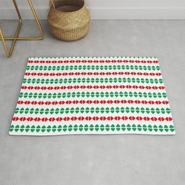 Christmas Pattern White Red Green 1 Rug