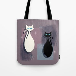 Jazzy Midcentury Modern Black And White Abstract Cats Tote Bag