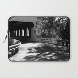 Covered Bridge in Black and White Laptop Sleeve