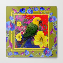 YELLOW-GREEN PARROT TROPICAL RED-BLUE FLORAL ART Metal Print