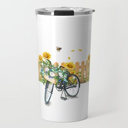Cats Summer Garden Bike Butterflies Travel Mug