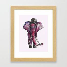 Elephant with flower Framed Art Print