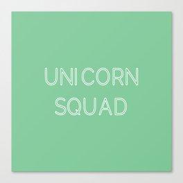 Unicorn Squad - Mint Green and White Canvas Print