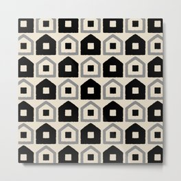 Mid Century Modern House Dot Pattern 971 Black and Gray Metal Print