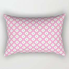 60s Ditsy Daisy Floral in Mod Pink Rectangular Pillow